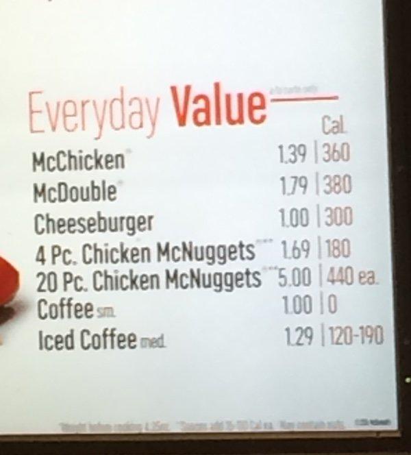 Wendy's Value Menu
