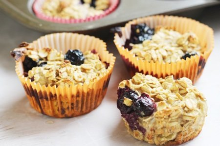Healthy Banana Blueberry Oatmeal Muffins Recipe