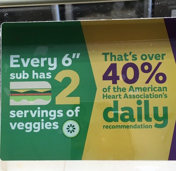 SUBWAY is always ready to tell you how healthy their sandwiches can be as you can see from this above sign. For this to be true – you would have to eat ...
