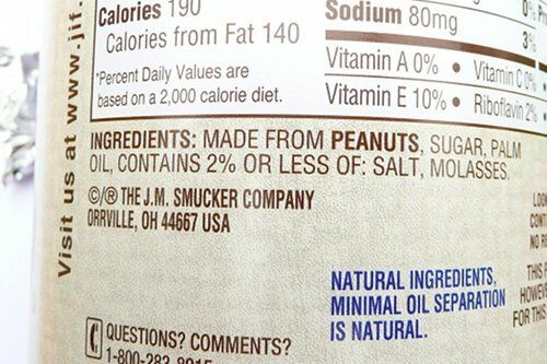Natural Jif nutrition label
