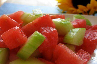 Watermelon Cucumber Lime Salad